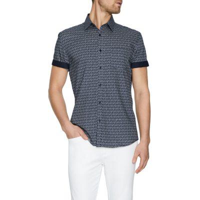 Fashion 4 Men - Tarocash Cubic Geo Print Shirt Navy M