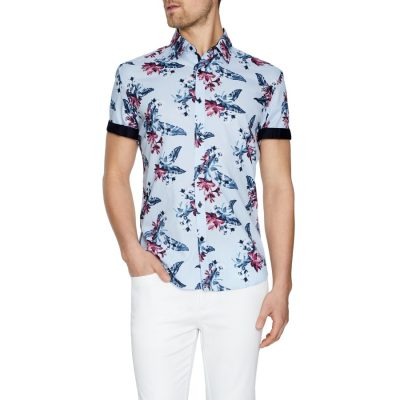 Fashion 4 Men - Tarocash Dallas Floral Print Shirt Sky M