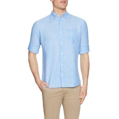 Fashion 4 Men - Tarocash Elliott Linen Blend Shirt Ice Blue Xl