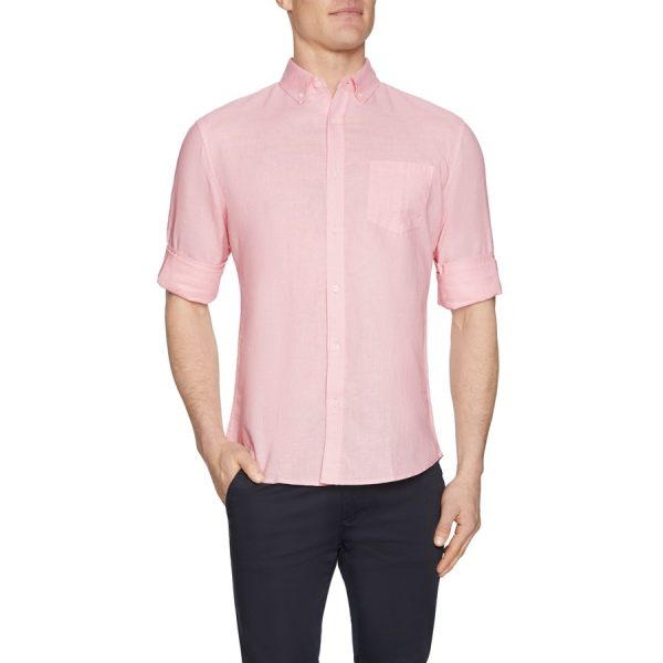 Fashion 4 Men - Tarocash Elliott Linen Blend Shirt Melon Xxl