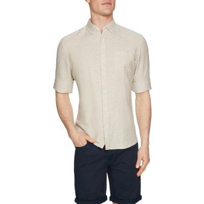 Fashion 4 Men - Tarocash Elliott Linen Blend Shirt Natural M
