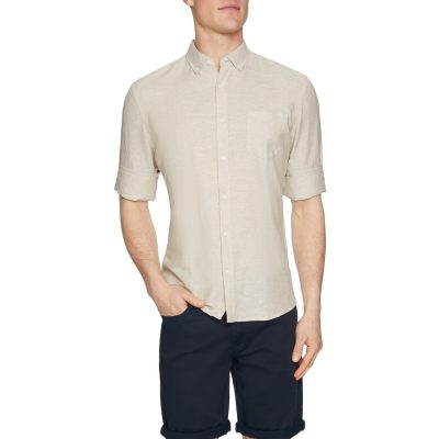 Fashion 4 Men - Tarocash Elliott Linen Blend Shirt Natural Xxl