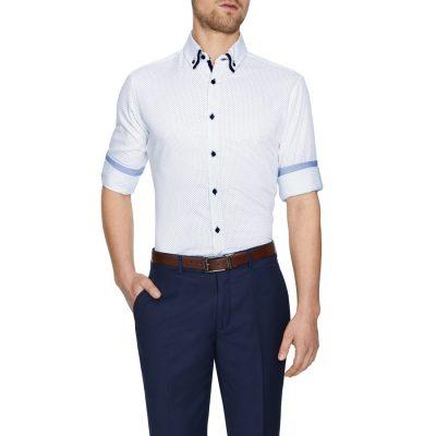 Fashion 4 Men - Tarocash Elton Textured Geo Print Shirt White 4 Xl