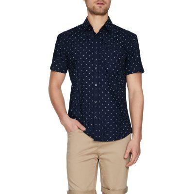 Fashion 4 Men - Tarocash Falcon Geo Print Shirt Navy Xl