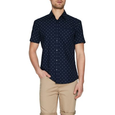 Fashion 4 Men - Tarocash Falcon Geo Print Shirt Navy Xs