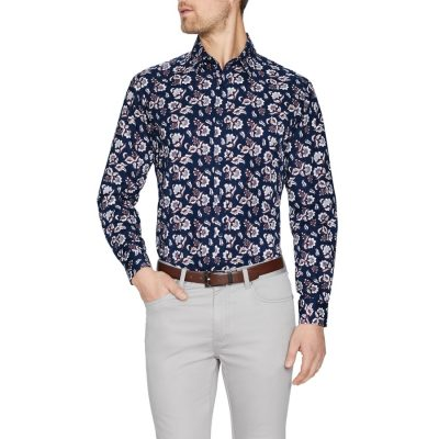 Fashion 4 Men - Tarocash Garcia Floral Print Shirt Navy Xl