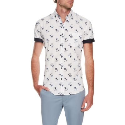 Fashion 4 Men - Tarocash Island Palm Print Shirt White Xs