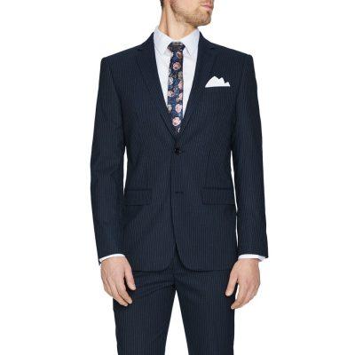 Fashion 4 Men - Tarocash Jenson Stripe Stretch Slim 2 Button Charcoal 32