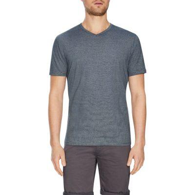 Fashion 4 Men - Tarocash Kraft Stripe V Neck Tee Charcoal M