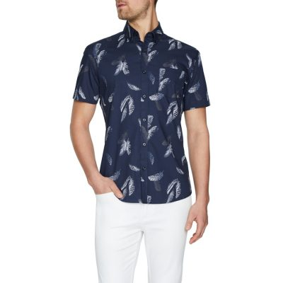 Fashion 4 Men - Tarocash Levi Print Shirt Navy M