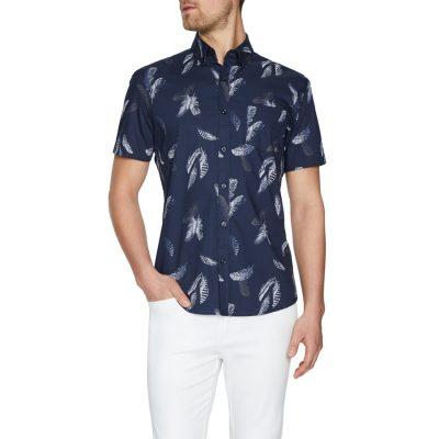 Fashion 4 Men - Tarocash Levi Print Shirt Navy Xxl