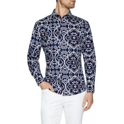 Fashion 4 Men - Tarocash Miami Slim Stretch Geo Shirt Navy M