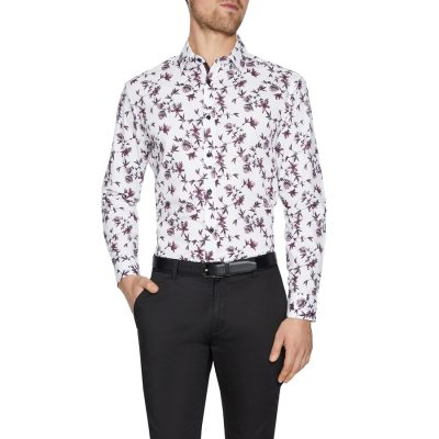 Fashion 4 Men - Tarocash Newmarket Slim Floral Print Shirt White Xl
