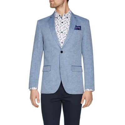 Fashion 4 Men - Tarocash Newport Linen Blend Blazer Sky Xl