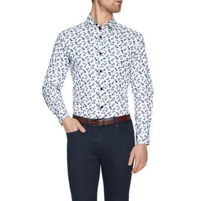 Fashion 4 Men - Tarocash Newton Floral Print Shirt White 4 Xl
