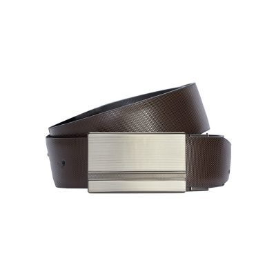 Fashion 4 Men - Tarocash Noah Textured Reversible Belt Choc/Black 42