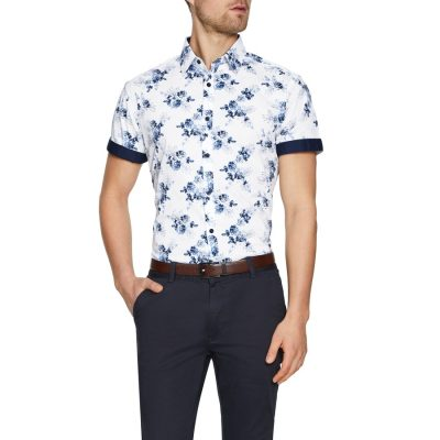 Fashion 4 Men - Tarocash Ocean Stretch Floral Print Shirt White L