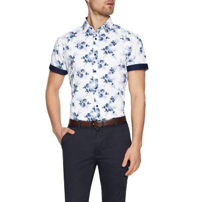 Fashion 4 Men - Tarocash Ocean Stretch Floral Print Shirt White M