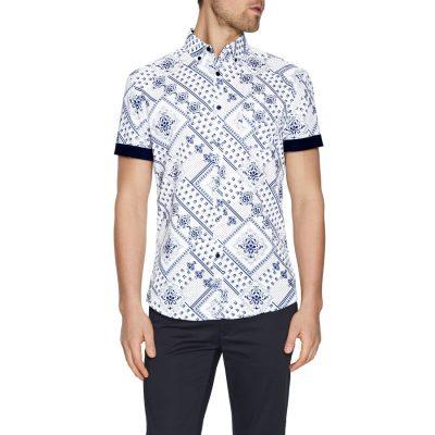 Fashion 4 Men - Tarocash Oscar Print Shirt White S