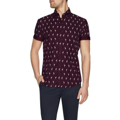 Fashion 4 Men - Tarocash Paradise Flamingo Print Shirt Burgundy L