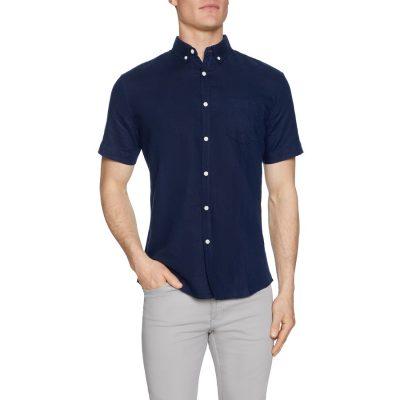 Fashion 4 Men - Tarocash Peterson Linen Blend Shirt Midnight L