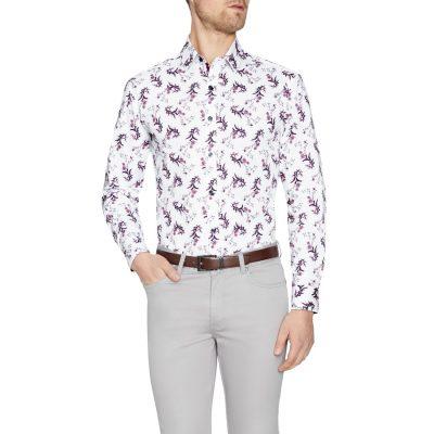 Fashion 4 Men - Tarocash Quinn Floral Print Shirt White L