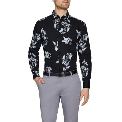 Fashion 4 Men - Tarocash Riccardo Slim Print Shirt Black Xs