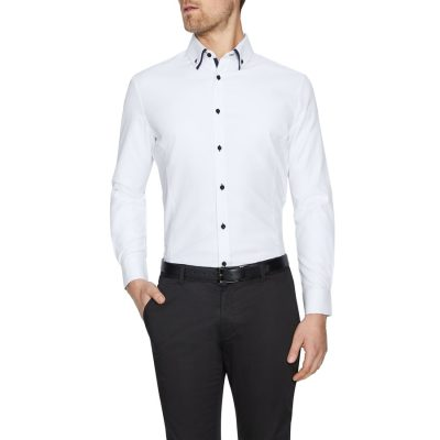 Fashion 4 Men - Tarocash Rocky Slim Textured Shirt White Xxxl