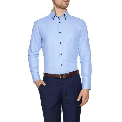 Fashion 4 Men - Tarocash Sheen Textured Shirt Sky Xs