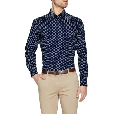 Fashion 4 Men - Tarocash Spencer Geo Print Shirt Navy L