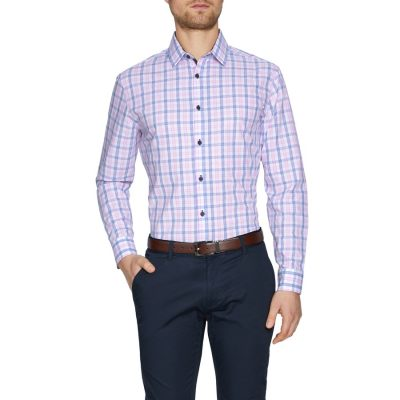 Fashion 4 Men - Tarocash Sprigett Check Shirt Pink M
