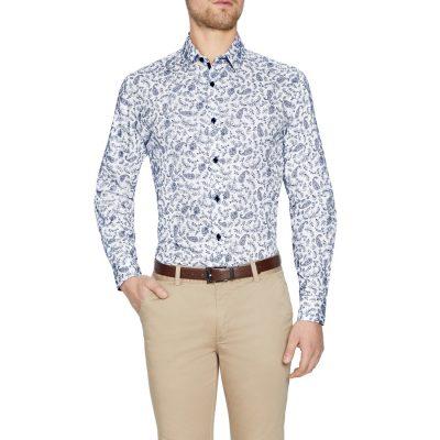 Fashion 4 Men - Tarocash Toto Paisley Print Shirt White 4 Xl