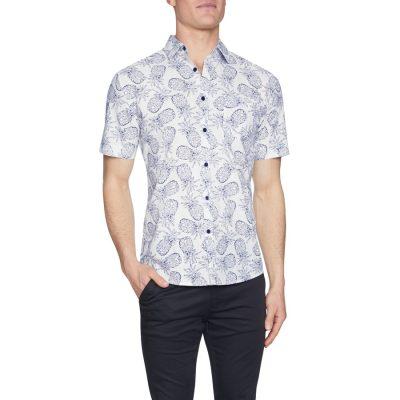 Fashion 4 Men - Tarocash Tropical Pineapple Print Shirt White Xl