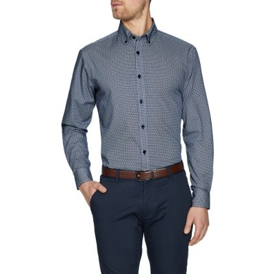 Fashion 4 Men - Tarocash Warwick Geo Print Shirt Navy Xxl