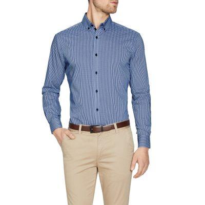 Fashion 4 Men - Tarocash York Stretch Check Shirt Navy Xxl