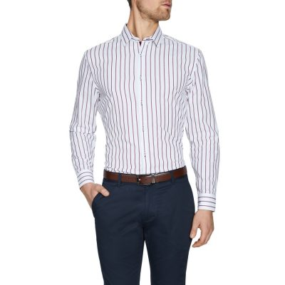 Fashion 4 Men - Tarocash Zayden Slim Stripe Shirt White Xxl