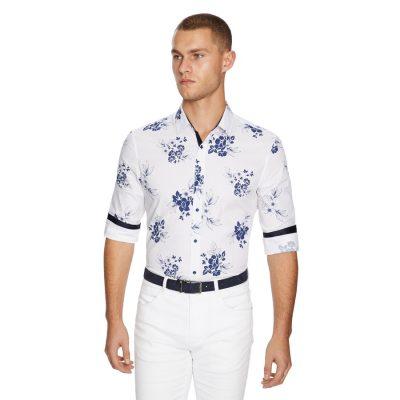 Fashion 4 Men - yd. Amalfi Floral Slim Fit Shirt White S