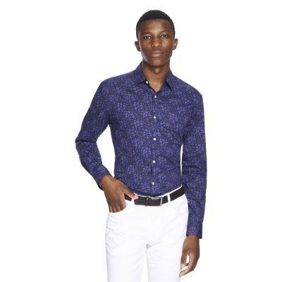 Fashion 4 Men - yd. Bandit Floral Slim Fit Shirt Blue L