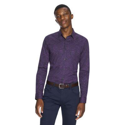 Fashion 4 Men - yd. Benji Paisley Shirt Purple 2 Xs