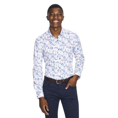 Fashion 4 Men - yd. Clapton Floral Slim Fit Shirt White M