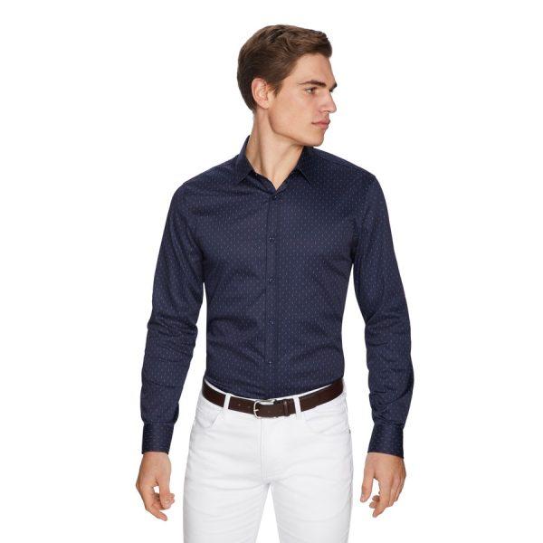 Fashion 4 Men - yd. Diamond Spot Slim Fit Shirt Navy 3 Xs