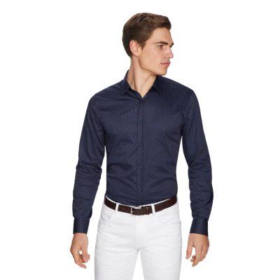 Fashion 4 Men - yd. Diamond Spot Slim Fit Shirt Navy M