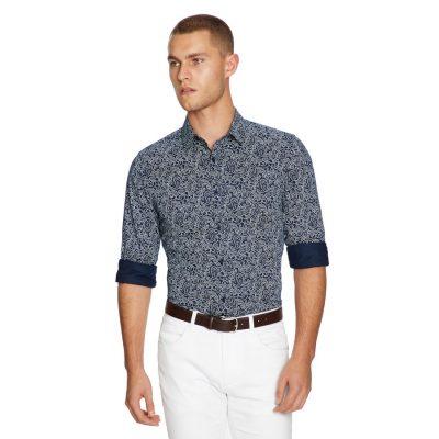 Fashion 4 Men - yd. Elvis Paisley Slim Fit Shirt Navy/White Xs