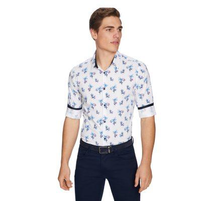 Fashion 4 Men - yd. Fern Floral Slim Shirt White Xs