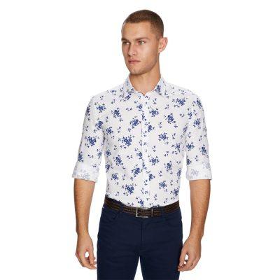 Fashion 4 Men - yd. Floral Linen Shirt White Xs