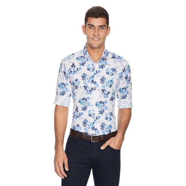 Fashion 4 Men - yd. Floripa Floral Slim Fit Shirt Blue M