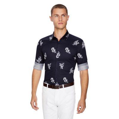 Fashion 4 Men - yd. Hal Floral Slim Fit Shirt Dark Blue M
