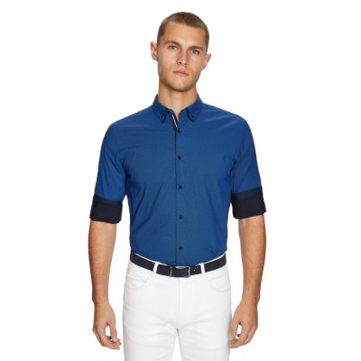 Fashion 4 Men - yd. Leeman Slim Fit Shirt Navy 2 Xs
