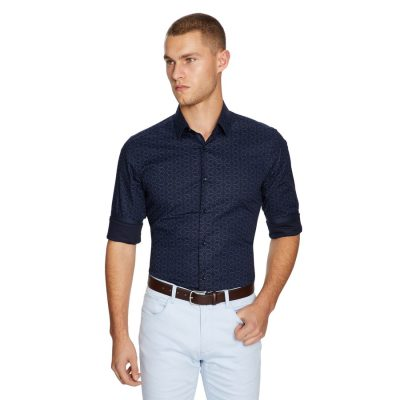 Fashion 4 Men - yd. Line Geo Slim Fit Shirt Dark Blue M