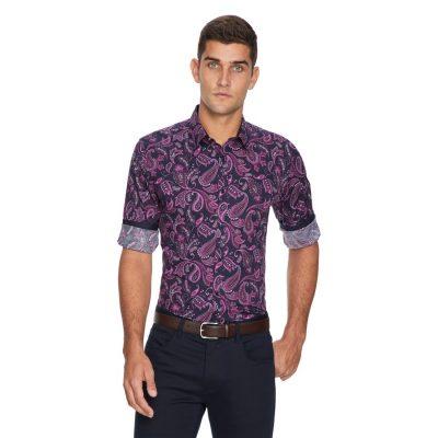 Fashion 4 Men - yd. Marcelo Paisley Slim Fit Shirt Burgundy S